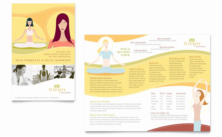 Yoga Flyer Template Free Luxury Yoga Instructor & Studio Brochure Template Word & Publisher