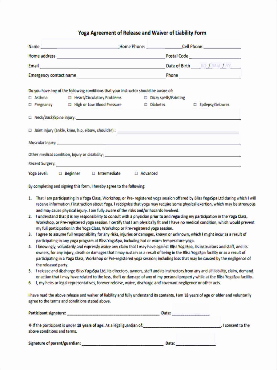 Yoga Waiver form Template New 7 Yoga Waiver form 7 Free Documents In Word Pdf