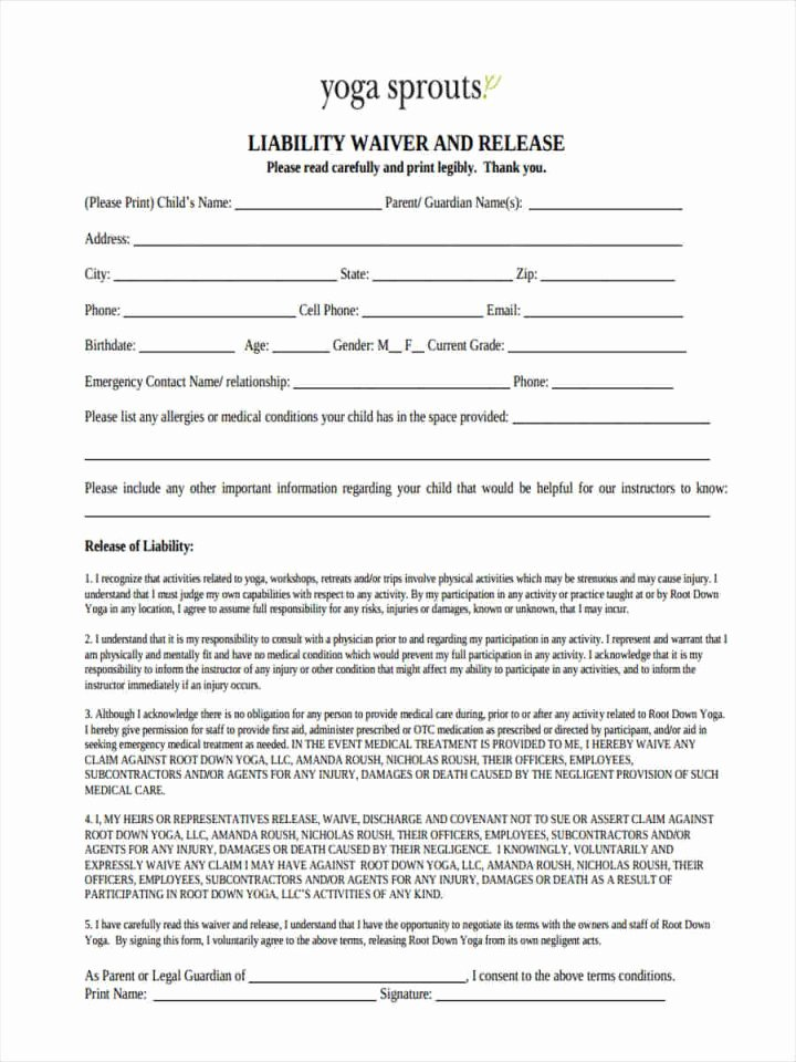 Yoga Waiver form Template New Yoga Waiver form Template