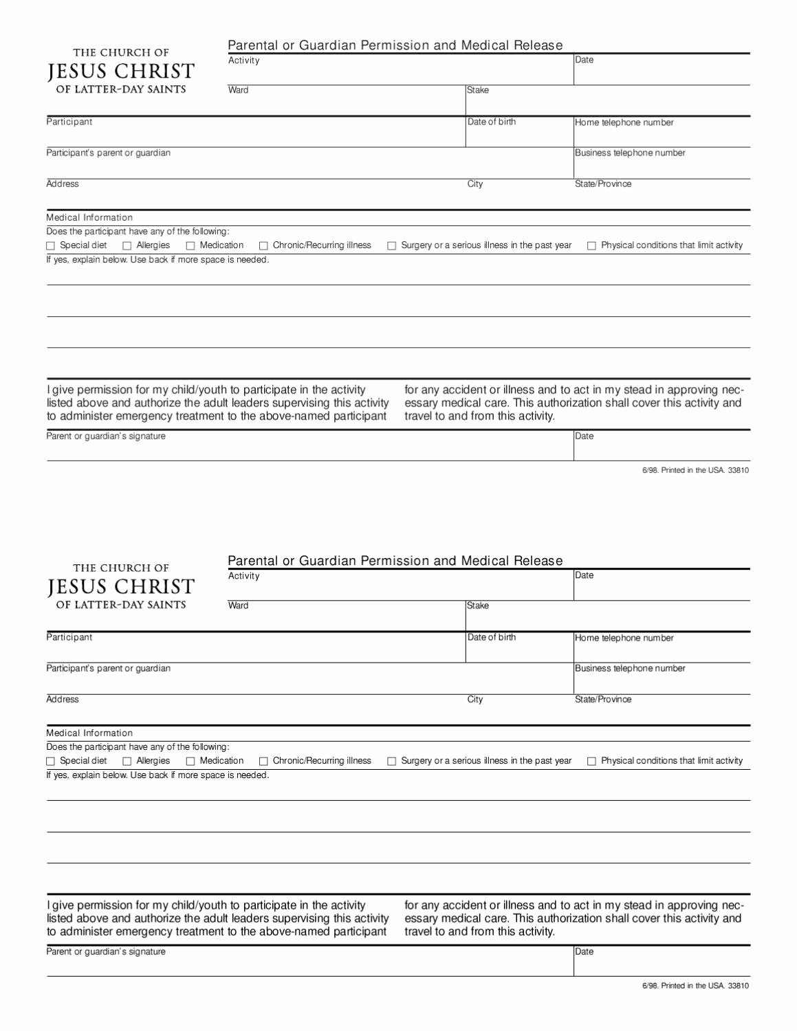 Youth Permission Slip Template Awesome Lds Youth Activity Permission Slip by Cynthia Woodruff issuu
