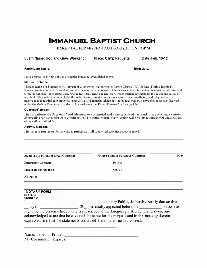 Youth Permission Slip Template Awesome Permission Slip Template In Word and Pdf formats