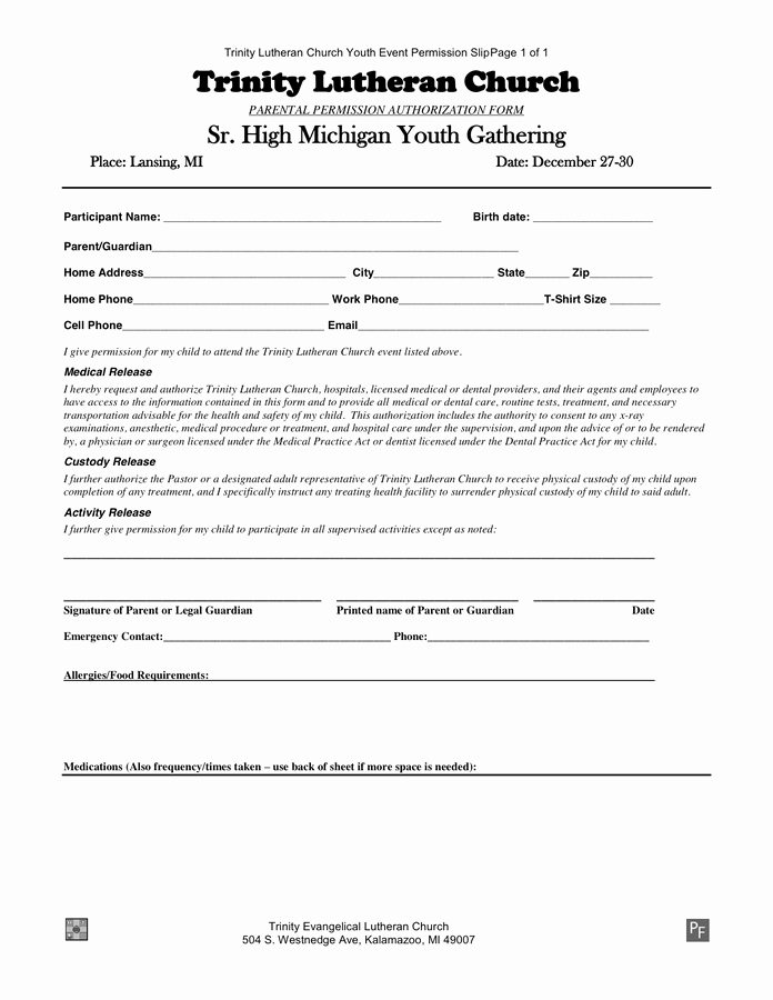 Youth Permission Slip Template Best Of Samples and Templates formated
