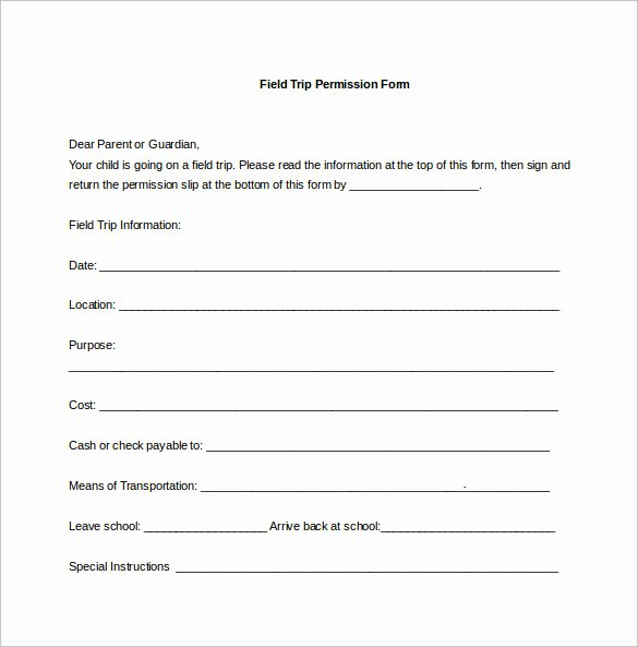 Youth Permission Slip Template Fresh Permission Slip Template 14 Download Free Documents In