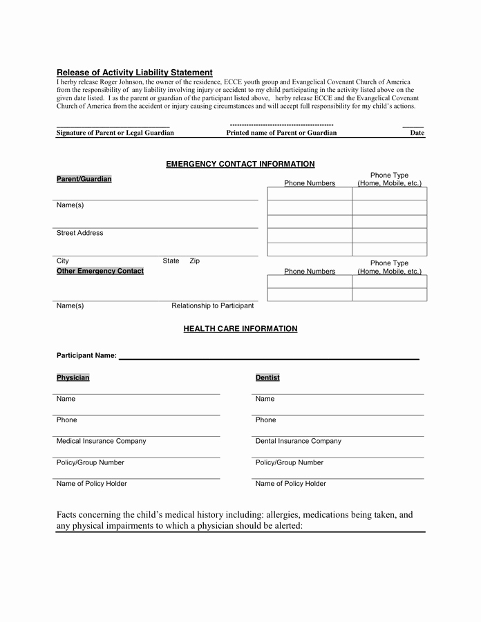Youth Permission Slip Template Inspirational 28 Of Trip Release form Template