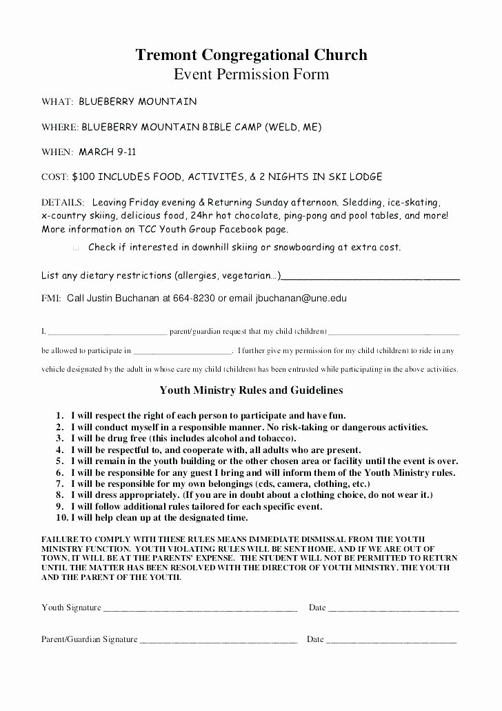 Youth Permission Slip Template New Youth Group Permission Slip Template Blueberry Church Free