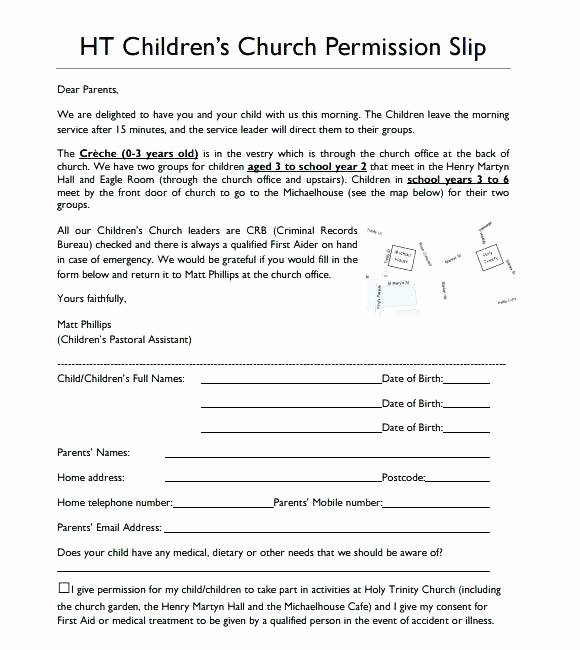 youth trip permission slip template sample field form letter church