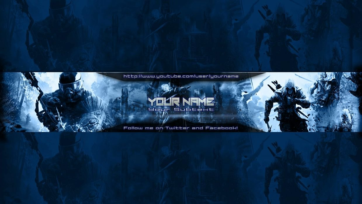 Youtube Gaming Banner Template Beautiful Gaming Banner Template Blue Customizeable